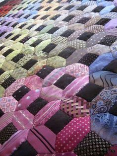Moon Shadows 2 quilt by Anne Joule, made by hand from men's silk neckties. 2015 Festival of Quilt. Photo by Don't Wait to Create. Quilt Festival, Necktie Quilt, Shirt Quilt, Patchwork Quilting, Scrappy Quilts, Tie Crafts, Sewing Crafts, Mens Ties Crafts, Old Ties
