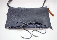 HAND MADE SMALL Blue Leather Purse Raw Hide SHOULDER BAG Cross Body BOHO HIPPIE  #Handmade #ShoulderBag