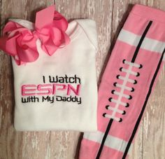 PINK I watch ESPN with my Daddy Onesie, Football Leggings, and Bow Set. $29.00, via Etsy.