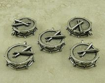 5 Band Drum Charms > Marching Percussion High School College - American Made Lead Free Pewter Silver Finish - I ship internationally