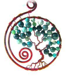 Tree of Life Pendant Green Fancy Jasper beads by CarrieEastwood