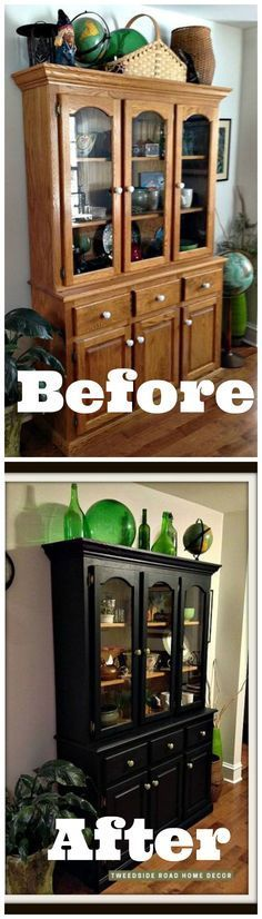 Beautiful 1990's oak china cabinet makeover with fusion mineral paint.  I need to buy some of this stuff ~ I have a lot of retro oak that could use some updating.  http://www.hometalk.com/l/LR7