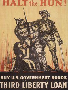 #WWI War #Poster. Halt the Hun! Buy U.S. Government Bonds. Third Liberty Loan. $12.99. On VintPrint.com.