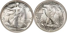 WALKING LIBERTY HALF DOLLARS (1916-1947). SPECIFICATIONS: Designer: Adolph Alexander Weinman  Diameter: 30 millimeters  Metal content: Silver - 90% Copper - 10%  Weight: 193 grains (12.5 grams)  Edge: Reeded  Mint mark: None (for Philadelphia, PA) below the R of TRUST on the obverse