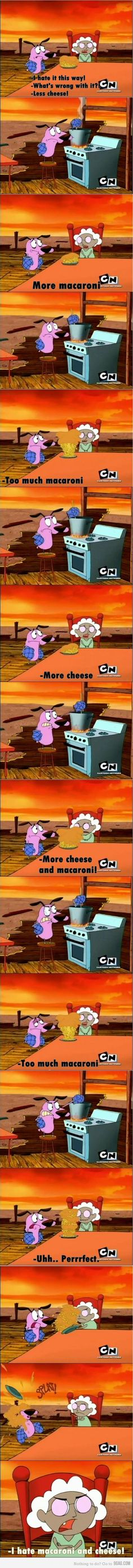 Courage the Cowardly Dog - episode when Muriel is sucked into a tornado and becomes 3 years old, her strong Scottish accent intact. Cooking mac & cheese is revealed as another one of Courage's many hidden talents. Funny Cute, The Funny, Hilarious, 90s Cartoons, Disney Cartoons, Courage The Cowardly Dog, 4 Panel Life, Funny Comments, Cartoon Tv