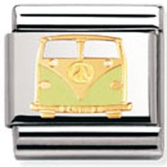 Nomination - Stainless Steel With Enamel And Gold 'Van' Link Nomination Charms, Nomination Bracelet, Green Vans, Classic Gold, Birthday Wishlist, Contemporary Jewellery, Custom Jewelry, Peace And Love