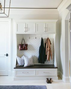 Herringbone pattern in mudroom cubbies. Herringbone pattern in mudroom cubbies…