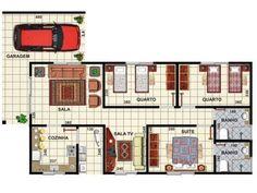 planta casa 3 quartos