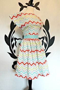 The Zig Zag Dress  Chevron Colorful Whimsical by PassionPeach, $52.75    Dress dresses bridesmaid clothing womens women woman retro vintage inspired 40's 50's 60's forties fifties sixties mod cute girly romantic quirky whimsical pretty elegant girly feminine cocktail tea party zig zag chevron sash red green blue white grey