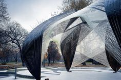This web-like pavilion was inspired by a lobster and built by a robot (Wired UK)