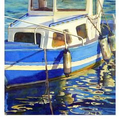 Boat Art Watercolor Painting a Spanish Fishing Boat in Spain:Fathers Day Men Women Ocean Dock Bay Water Reflections Blue 10 x14 Under 30. $28.00, via Etsy.