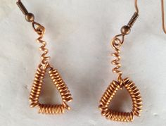 Coiled Copper  earrings  Upcycled copper wire by TwistedCopperPC, $14.00
