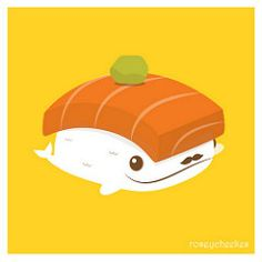 Sushi Whale (roseycheekes) Tags: food cute illustration sushi salmon kawaii whale nigiri japanesefood wasabi vector