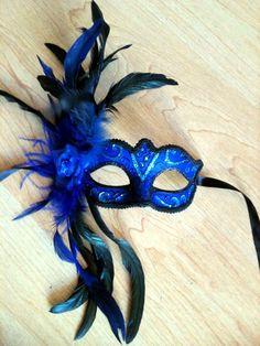 blue feathered masquerade mask