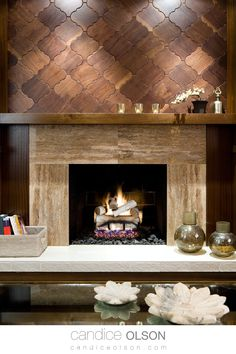 Who says wood flooring tiles are only for the floor? These wood tiles, the shape inspired by centuries-old Moorish tiles of Spain or Morocco, add warmth and personality to this room. #candiceolson #candiceolsondesign Wood Fireplace Surrounds, Fireplace Wall, Fireplace Design, Fireplace Ideas, Fireplace Pictures, Fireplace Remodel, Modern Fireplace, My Living Room, Home And Living
