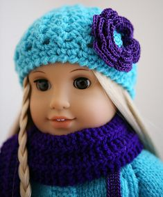 This free pattern for AG sized sweater, hat, scar and more is offered by Ravelry: cataddict's brrrr... it's still cold!  Some of the item are knit and some are crochet.  Be sure to check it out!