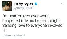 Harry on twitter. #prayformanchester