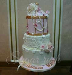 Birdcage engagement cake - Cake by Sara Mohamed