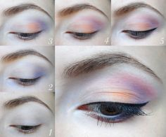Violet and Orange Pastel Makeup tutorials