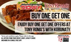 Enjoy buy one get one offers at Tony Roma's through Kobonaty. Download GL Deals app now for free to get more access to offers. http://www.gldeals.com/myapp #instalike #tagsforlikes #dubai #uae #offers #app #appstore #iosapp #googleplay #android #ios #gldeals #deals #discounts #cards #tonyromas #kobonaty #vouchers