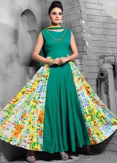 Green Art Silk Churidar #Anarkali-Suit-For-Eid