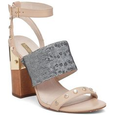 Louise Et Cie Kellyn Studded Triple Strap Leather Sandals ($149) ❤ liked on Polyvore featuring shoes, sandals, beige grey, leather ankle strap sandals, open toe sandals, beige strappy sandals, grey sandals and leather strappy sandals