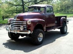 48 chevy pickup with a wicked lift! Oh Man this is my dream truck.