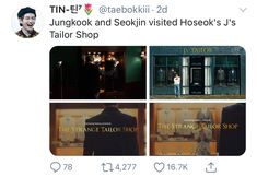 Seokjin, Hoseok, Tailor Shop, Bts Tweet, Bts Memes