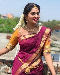 Shivani Narayanan saree stills - South Indian Actress Beautiful Girl Indian, Most Beautiful Indian Actress, Beautiful Saree, Beautiful Women, South Indian Bride, South Indian Actress, Indian Bridal, South Actress, Beautiful Bollywood Actress