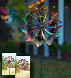 Solar LED Flower Wind Spinner - PLOW & HEARTH; THEY ALSO HAVE OTHER GARDENING ITEMS