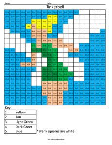 Click on the image to view the PDF.  Print the PDF to use the worksheet. Tinkerbell- Practice Division Solve simple division math fact problems and use the key at the bottom of the coloring page to…