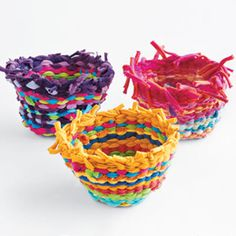 Weaving t-shirts into baskets. we could donate them to Bunny Buddies and count it as a Good Works in Personal Progress