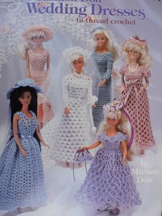 Barbie Fashion Doll Wedding Dresses Crochet Doll Pattern Book 1108 American School of Needlework Crochet Barbie Patterns, Crochet Doll Dress, Barbie Clothes Patterns, Crochet Barbie Clothes, Crochet Doll Pattern, Clothing Patterns, Doll Patterns, Sewing Clothes, Barbie Wedding Dress