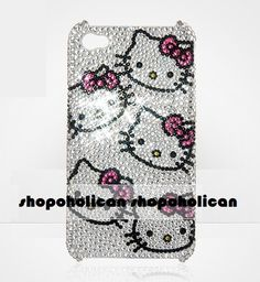 Hello Kitty Heads Swarovski IPhone hard  Back Case by Blythaholic, $89.00