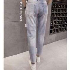 Boyfriend Jeans Pour Femmes Vente Chaude Nouveau Mode Capris Lâche Vintage  Denim Harem Pantalon À Paillettes Jeans Rue Déchiré Perles D001 3687516026f0