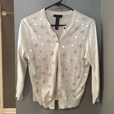 J. Crew Collection cardigan Wool and cotton blend- super lightweight. Sequin cardigan with 3 quarter length sleeves. J. Crew Sweaters Cardigans