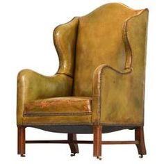 Vintage Green Leather Wing Chair