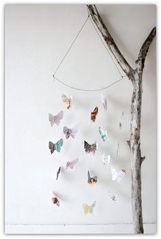 butterfly mobile, upcycled magazines - annaleenas hem