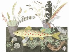 Angie Lewin - Emily's Fish - watercolour painting
