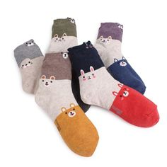 3TONE LONG ANIMALS SOCKS (5-PACK) CAT PUPPY RABBIT BEAR OTTER Pattern socks
