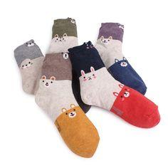 3TONE LONG ANIMALS SOCKS (5-PACK) CAT PUPPY RABBIT BEAR OTTER Pattern socks