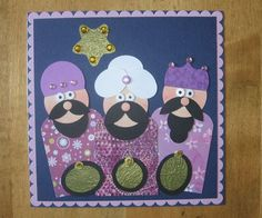 "Punch Art, Wise men, Magi, Christmas by Carolynn - Cards and Paper Crafts at Splitcoaststampers - modified & used for ""pin the wisemen together"" game @Kerry Aar Aar Aar Aar Aar Aar Hodgetts"