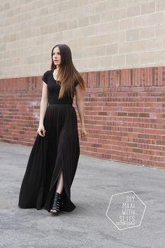 DIY Slitted Maxi Skirt