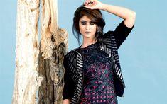 Download wallpapers Ileana DCruz, Indian actress, photoshoot, make-up, black leather dress, beautiful woman, VOGUE India