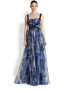 Badgley Mischka - Floral Silk Criss-Cross Gown - Saks.com