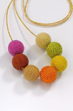 Warm Tone Beaded Beads - bead crochet by Lynne Sausele