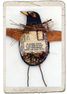 I listed a few new birds in my etsy shop. I love blackbirds and crows, so this one was especially fun to make. Found Object Art, Found Art, Altered Canvas, Altered Art, Mixed Media Collage, Mixed Media Canvas, Bird Crafts, Recycled Art, Repurposed