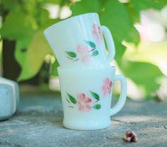 fire king peach blossom mugs
