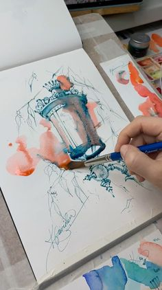 Art inspiration The original watercolor drawing The lantern Watercolor Drawing, Watercolour Paintings, Watercolor Sketchbook, Watercolor Artists, Watercolor Video, Watercolor Water, Original Paintings, Painting Art, Watercolor Illustration Tutorial