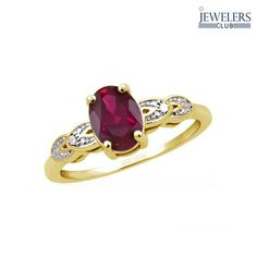 1.25 Carat Total Weight Genuine Ruby & Diamond Accent Ring in Gold-Plated Sterling Silver at 90% Savings off Retail!